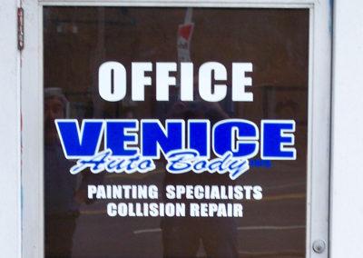 Auto body shop door vinyl