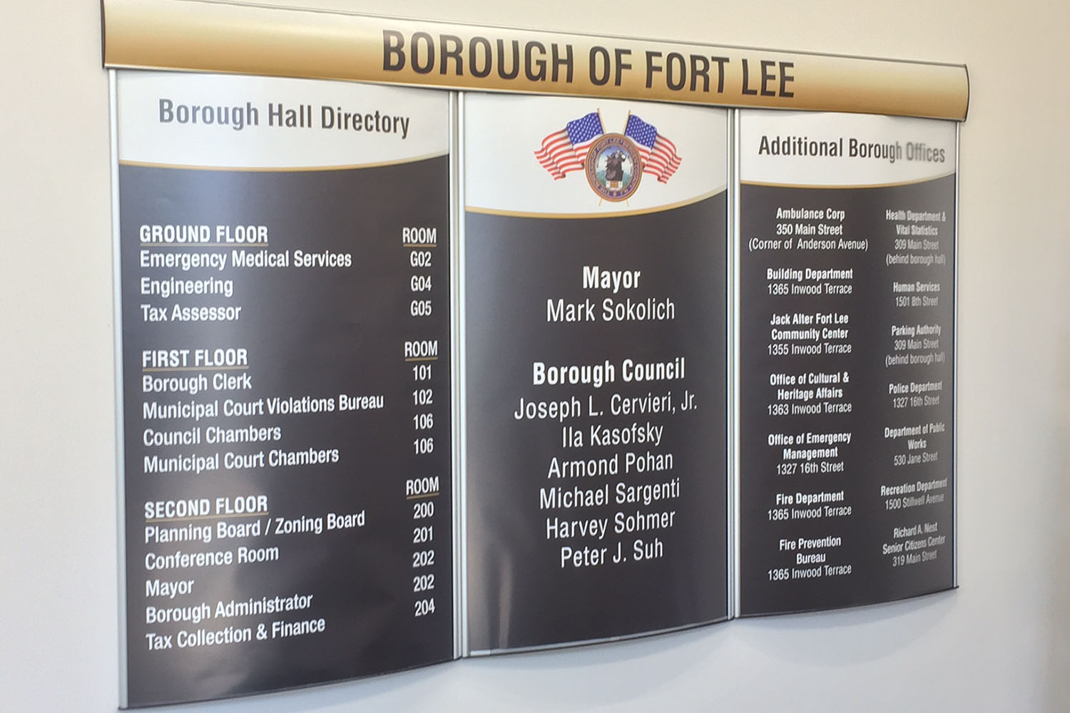 Interior Directory Sign Ft. Lee
