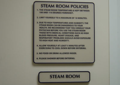 Steam Room Safety Sign