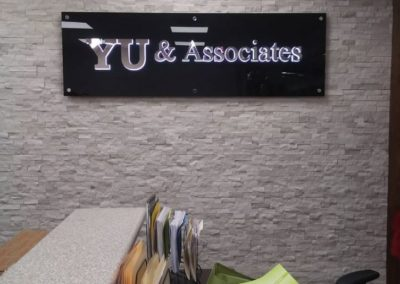 Yu Associates reception Sign
